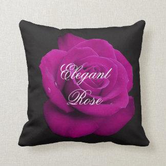 Elegant Fuchsia Rose Throw Pillow