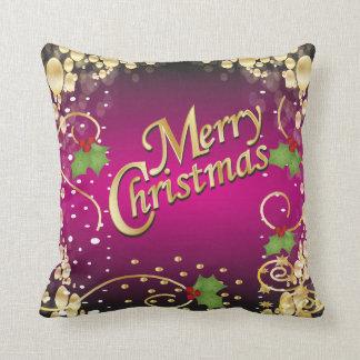 Elegant Fushia Pink and Gold Christmas Throw Pillow