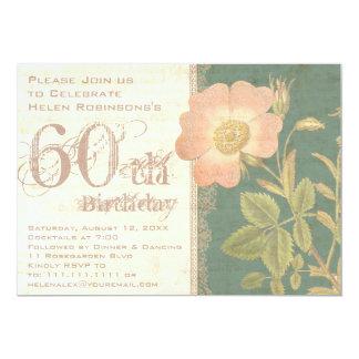 Elegant Gardener's 60th Birthday Vintage Rose Card