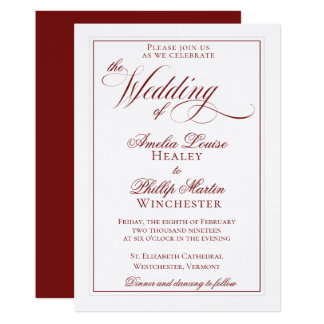 Elegant Garnet Red and White Wedding Invitation