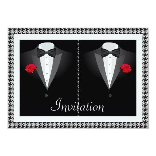 Elegant Gay Wedding Invitation with Two Tuxedos