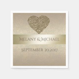 Elegant gentle golden abstract heart wedding paper napkin