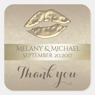 Elegant gentle golden lips thank you square sticker