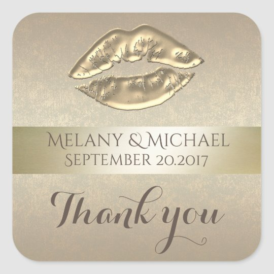 Elegant gentle golden lips thank you square sticker