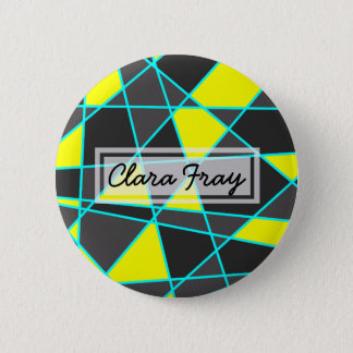 elegant geometric bright neon yellow and mint 2 inch round button