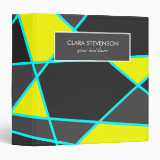 elegant geometric bright neon yellow and mint 3 ring binder