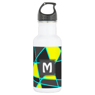 elegant geometric bright neon yellow and mint 532 ml water bottle