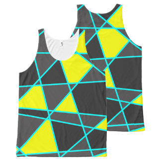 elegant geometric bright neon yellow and mint All-Over-Print tank top