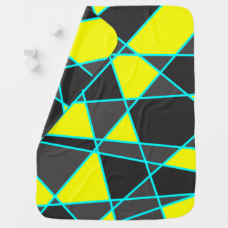 elegant geometric bright neon yellow and mint baby blanket