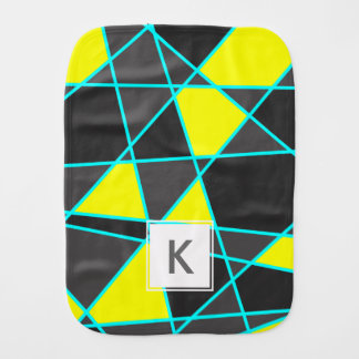 elegant geometric bright neon yellow and mint burp cloth