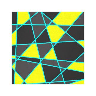 elegant geometric bright neon yellow and mint canvas print