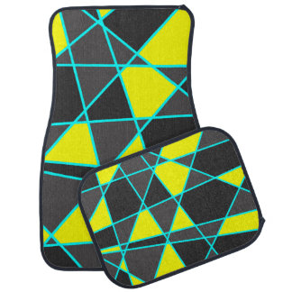elegant geometric bright neon yellow and mint car mat