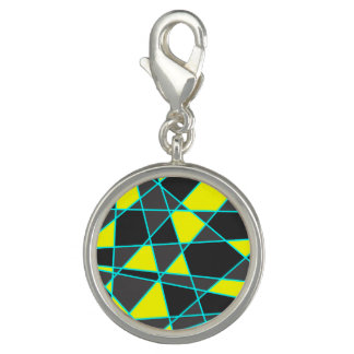 elegant geometric bright neon yellow and mint charm