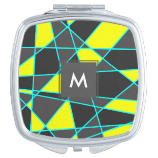 elegant geometric bright neon yellow and mint compact mirror