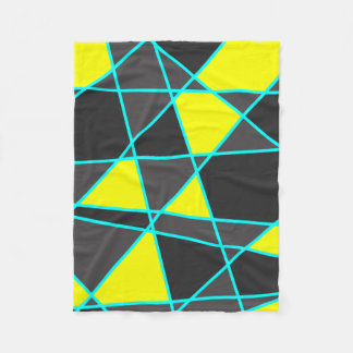 elegant geometric bright neon yellow and mint fleece blanket