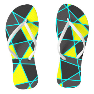 elegant geometric bright neon yellow and mint flip flops