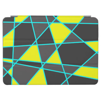 elegant geometric bright neon yellow and mint iPad air cover