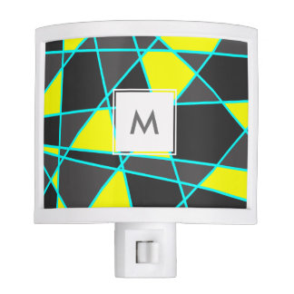 elegant geometric bright neon yellow and mint nite lights