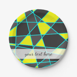 elegant geometric bright neon yellow and mint paper plate
