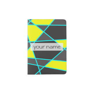 elegant geometric bright neon yellow and mint passport holder