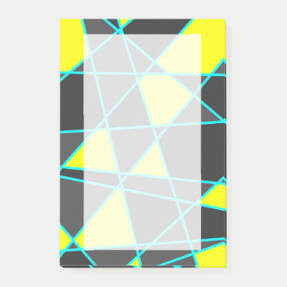 elegant geometric bright neon yellow and mint post-it notes
