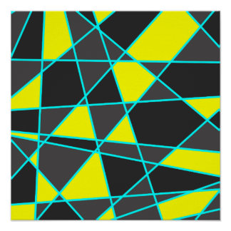 elegant geometric bright neon yellow and mint poster