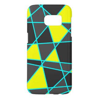 elegant geometric bright neon yellow and mint samsung galaxy s7 case