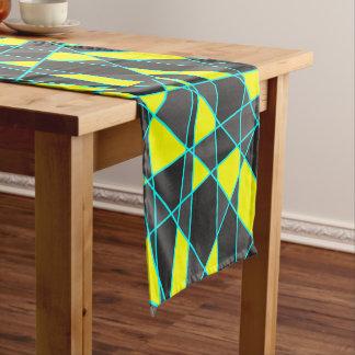 elegant geometric bright neon yellow and mint short table runner