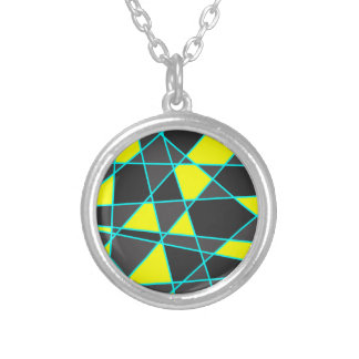 elegant geometric bright neon yellow and mint silver plated necklace