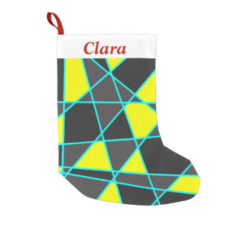 elegant geometric bright neon yellow and mint small christmas stocking