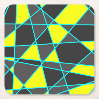 elegant geometric bright neon yellow and mint square paper coaster