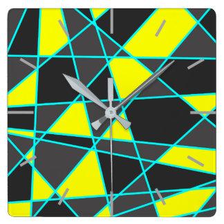 elegant geometric bright neon yellow and mint square wall clock