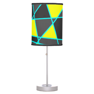 elegant geometric bright neon yellow and mint table lamp