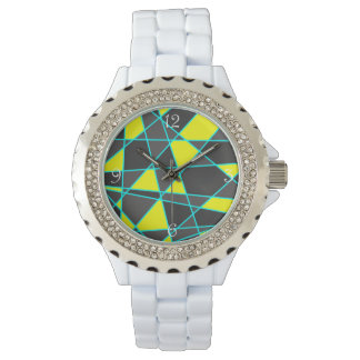 elegant geometric bright neon yellow and mint watch