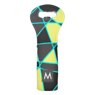 elegant geometric bright neon yellow and mint wine bag