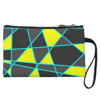 elegant geometric bright neon yellow and mint wristlet