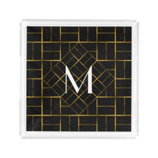 Elegant Geometric Gold Art Deco Pattern  Monogram Acrylic Tray