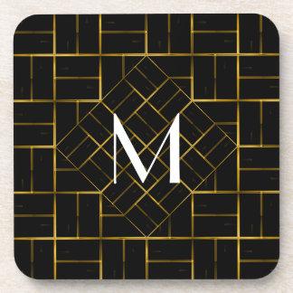 Elegant Geometric Gold Art Deco Pattern  Monogram Coaster