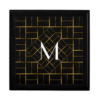 Elegant Geometric Gold Art Deco Pattern  Monogram Gift Box