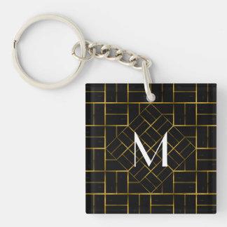 Elegant Geometric Gold Art Deco Pattern  Monogram Keychain