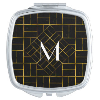 Elegant Geometric Gold Art Deco Pattern  Monogram Makeup Mirror
