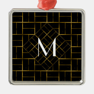 Elegant Geometric Gold Art Deco Pattern  Monogram Metal Ornament