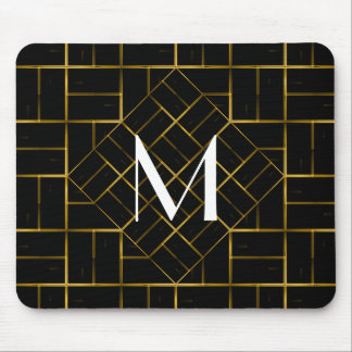 Elegant Geometric Gold Art Deco Pattern  Monogram Mouse Pad