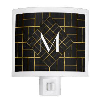 Elegant Geometric Gold Art Deco Pattern  Monogram Nite Light