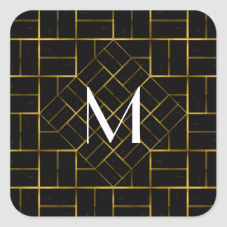Elegant Geometric Gold Art Deco Pattern  Monogram Square Sticker