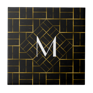 Elegant Geometric Gold Art Deco Pattern  Monogram Tile