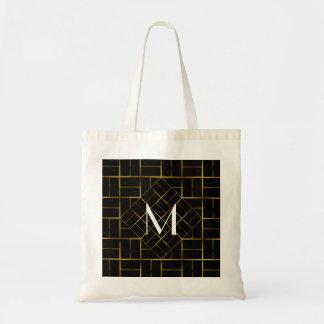 Elegant Geometric Gold Art Deco Pattern  Monogram Tote Bag