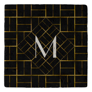 Elegant Geometric Gold Art Deco Pattern  Monogram Trivet
