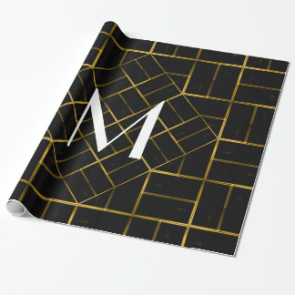 Elegant Geometric Gold Art Deco Pattern  Monogram Wrapping Paper