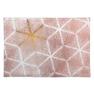 Elegant Geometric Gold Snowflakes Holiday Pattern Placemat